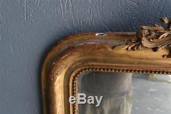 Mirror In Gilded Stucco With Louis Philippe Nineteenth Century Leaf
