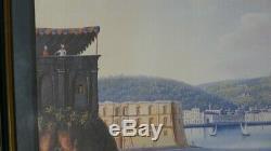 Neapolitan Gouache, View Of Naples From Mergellina, Grand Tour, Time XIX