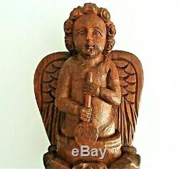 Oak Wood Sculpture Xixth Time, Angel Protector Of Sailors. 42 CM