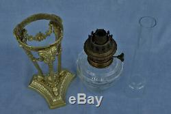 Oil Lamp In Athenian Bronze And Crystal Heads Rams Empire Period Xixth