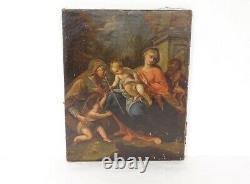 Oil On Canvas Jesus Blessing St. John The Baptist 19th Century