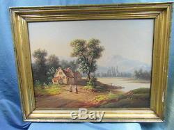 Oil On Canvas Landscape Italian Era Late Nineteenth Century Canvas Table