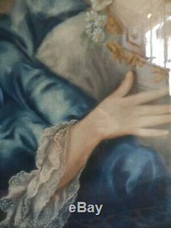 Oil On Canvas Period Xixth Portrait Of Lady Painting French Court