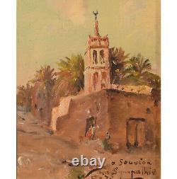 Oil On Orientalist Canvas Mosque In Biskra De Maxime Noire Era Late Nineteenth