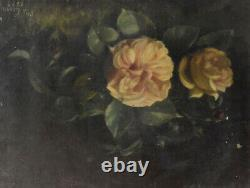 Oil Painting Landscape Bouquet Of Roses Period Late 19th Century