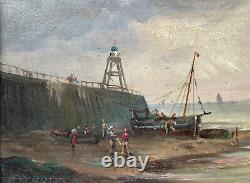 Oil Painting On Marine Panel Seaboard Boats Characters Epoque XIX Ème
