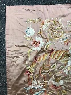 Old And Big Embroidery On Silk Napoleon III Period Embroidery On Silk 19th