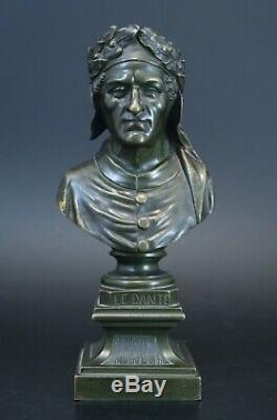 Old Bronze Bust Dante Era Napomeon III Nineteenth 20.5 CM