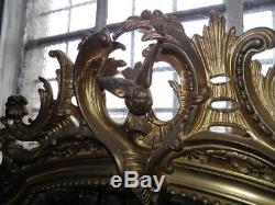 Old Louis XV Style Mirror Gilt Wood Carved Epoque Nineteenth Deco Castle
