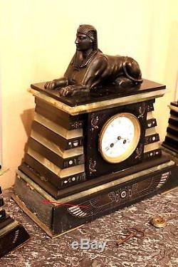 Old Mantelpiece Clock Back From Egypt Time Nineteenth Century