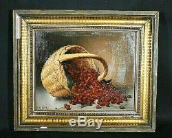 Old Painting Hst Still Life With Cherries Signed Blanquer Time Nineteenth