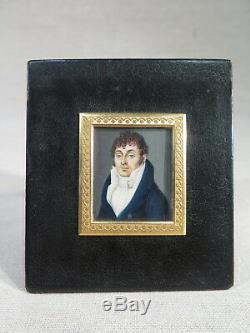 Old Table Miniature Portrait Gentleman Eyes Blue Empire Period XIX