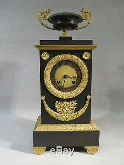 Old Terminal Clock Bronze Brown And Gold Recovery Period Vase Cut Nineteenth Em