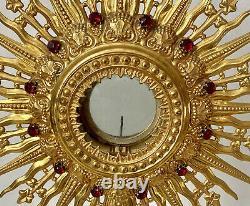 Ostensoir Monstrance Brass Doré Strass Church Liturgy Sacred Art Epoque XIX