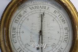 Oval Barometer Epoque XIX Eme In Golden Wood Floral Basket Decoration Foulon Paris