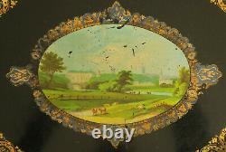 Oval Tray In Peinte Tray Pastoral Scene Epoque Napoleon III XIX