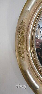 Oval Wooden Mirror Dore Napoleon III Decor De Roses Sculptees Epoque Xixeme