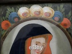 Painting Fixed Under Glass Time Xixth Santa Maria Religiosa Popular Art