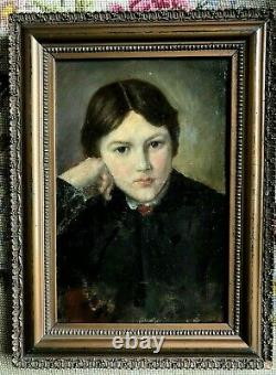 Painting, Portrait Of A Young Girl, Teplitz Frame, 19th Century