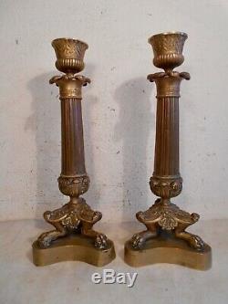 Pair Ancien Boutonoir Bronze Time Napoleon Empire Foot Griffes Palmette Xixth