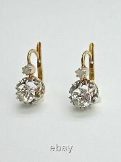 Pair Of 18k Gold Dormers And Platinum Decorated With 19th Century Rhine Stones