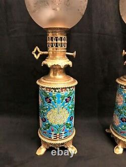 Pair Of 19th Century Longwy Oil Lamps