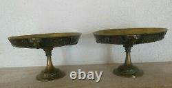 Pair Of 2 Bronze Cups By Auguste Delafontaine 19th Century