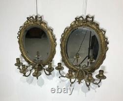 Pair Of Appliqués Louis XVI Bronze Mirror Antique Era Xixth Century