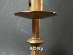 Pair Of Bronze Candlesticks High Gothic Style 19th Century
