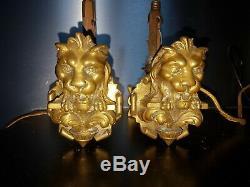 Pair Of Bronze Candlesticks Napoleon 3 Header Lion XIX Candlestick