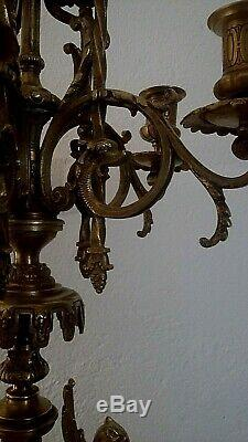 Pair Of Candelabra Xixth Gilded Bronze And Marble Cherry Red 80 CM