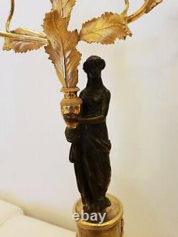 Pair Of Candelabras Era Bronze Empire Golden Early Xixeme