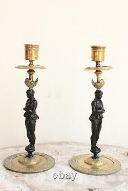Pair Of Candelabras In Golden Bronze Epoch Xixth