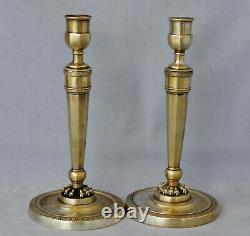 Pair Of Candlesticks Bronze Of Empire Period Xixth Century