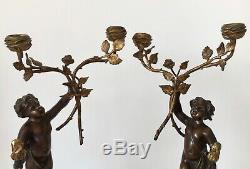 Pair Of Candlesticks In Bronze On A Marble Base Period Of The Nineteenth Century