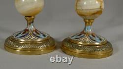 Pair Of Candlesticks Napoleon III Bronze And Cloisonné Onyx Time XIX