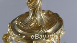 Pair Of Candlesticks Rockery Louis XV Gilt Bronze 3 Lights, Age XIX
