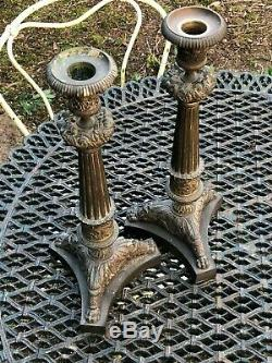 Pair Of Candlesticks & Torches & Bronze & Charles X Period To 1830 XIX