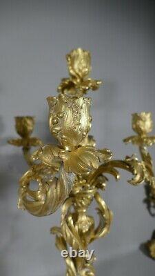 Pair Of Chandeliers Louis XV Rocaille En Bronze Doré, Époque XIX Ème