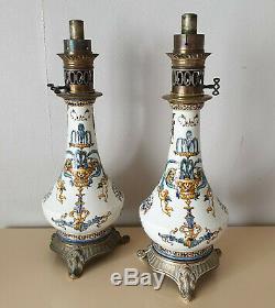 Pair Of Earthenware Lamps Gien Renaissance Decor Height 49 CM Age XIX