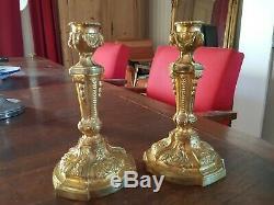 Pair Of Gilt Bronze Candlesticks Style Louis XVI XIX S Èpoque