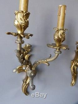 Pair Of Gilt Bronze Sconces, Louis XV Style, Time XIX