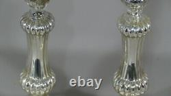Pair Of Glass Candlesticks In Mercurized Glass, 19th Century