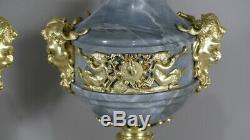 Pair Of Louis XVI Cassolettes Turquin Marble And Gilt Bronze, Xixth Era
