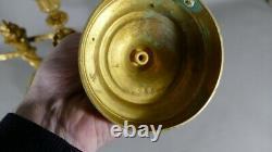 Pair Of Louis XVI Style Chandeliers In Golden Bronze, Era XIX