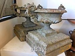 Pair Of Medici Cast Iron Vases, 19th Century