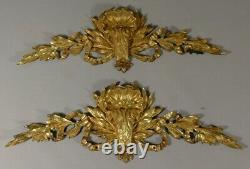 Pair Of Ornaments, Frontons Style Louis XVI In Golden Bronze, 19th Century