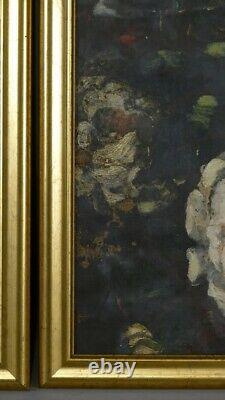 Pair Of Painted Canvases With Flowers, Aubusson Cards, 19th Century