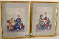 Pair Of Paintings, Gouache Painting On Rice Paper China, 19th Century