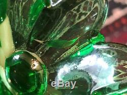 Pair Of Perfume Bottle Charles X 1830 Uranium Glass Crystal Glass XIX